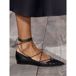 Michael Kors Collection Lace-Up Pointed Toe Flats